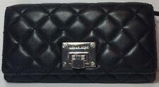 Micheal Kors Astrid Quilted Black Soft Glove Leather Credit Card Wallet Clutch