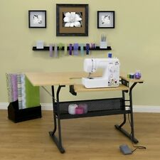 Adjustable Sewing Machine Craft Table Top Folding Work Desk Storage Shelves Art
