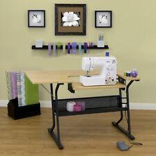 Adjustable Sewing Machine Craft Table Top Folding Work Desk Storage Shelves Art