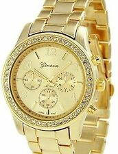 NEW Geneva BNON-9073 Womens Gold Plated Classic Round CZ Ladies Bling Cute Watch