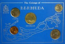 1979-1988 BERMUDA - UNC TYPE SET (5) - 1, 5, 10, 25 CENTS & DOLLAR - BLUE CARD