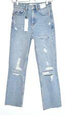 Topshop High Waisted STRAIGHT LEG Light Blue Ripped Raw Hem Crop Jeans 6 W25 L32