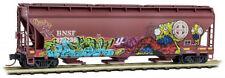 Micro-Trains MTL N-Scale 3-Bay Covered Hopper BNSF Monster Graffiti #422236