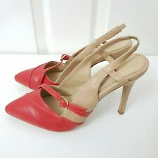 Ladies NEXT Red Beige Slingback Evening/Party Sandals/Shoes Buckle Detail UK 4.5