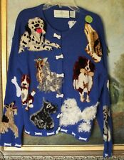 DESIGN OPTIONS DOG LOVERS SWEATER ROYAL BLUE S SMALL HOUND SCOTTIE POODLE COLLIE