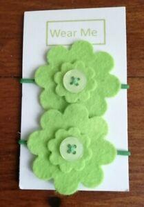 Handmade Green felt flower bobble x 2  on matching elastic band