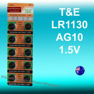 10 x LR1130 TE (AG10/189) Battery Queenof7 1.5V Alkaline Batteries TE