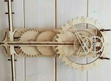 Wooden clock.Building kit. Wooden gear. Mechanical. Pendulum. 3D Wood Puzzle.