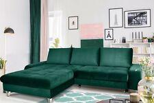 Couchgarnitur MAXIME Grün mit Schlaffunktion Ottomane Links