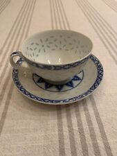 UNMARKED VINTAGE CHINESE TRANSLUCENT RICE PATTERN TEA CUP & SAUCER