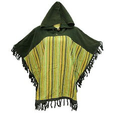 Peasant Boho Hand Woven Cotton Hooded Maxican Poncho/Sweater with Fringe YX823