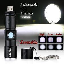 Mini CREE Q5 LED 1000Lm USB aufladbare Zoomable Fokus Taschenlampe 1
