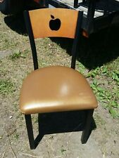 Applebee Restaurant Metal / Wood Chairs W/ Wood Apple design Back w/Gold seats,