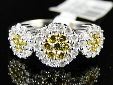 14K LADIES WOMENS WHITE GOLD YELLOW CANARY CLUSTER ROUND CUT DIAMOND RING 1 CT