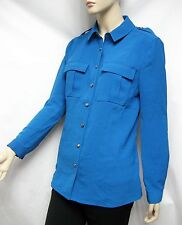 SALE! $350 Burberry Brit XS Kingfisher Military Blouse Shirt Women Lady Business