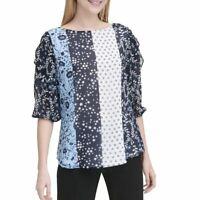CALVIN KLEIN NEW Women's White/black/multi Mixed-print Blouse Shirt Top S TEDO