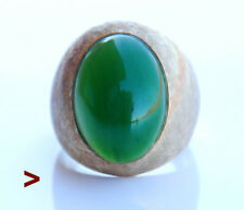 Vintage Men Unisex Ring solid 14K Gold Jade Stone Ø8.25 / 20gr