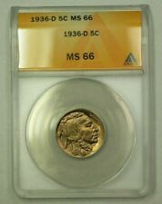 1936-D Buffalo Nickel 5c ANACS MS-66 (A) (WW)
