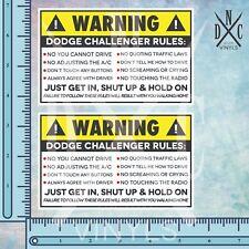 2x Dodge Challenger Safety Warning Rules Sticker Decal - SRT 8 Hellcat Demon