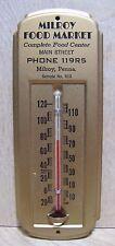 Old MILROY FOOD MARKET Main St Milroy Penna Adv Thermometer Sign Salesman Sample