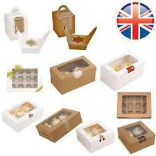 *UK Seller* 1~500 X Windowed Cupcake Boxes W/ Inner Trays 1 2 4 6 12 Cup Cakes