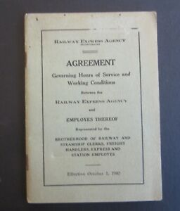 Old Vintage 1940 - RAILWAY EXPRESS AGENCY - Agreement BOOK - Hours of Service