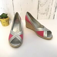 Lilly Pulitzer Via Palm Beach Pink & Silver Wedge Heel Size 8.5