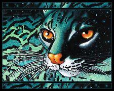 Cat Art Wild Teal Margay Polani Myka Jelina Ltd Ed Signed CANVAS Embellished
