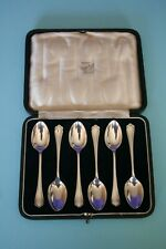 CASED SET OF 6 STERLING SILVER TEASPOONS, ATKIN BROS, SHEFFIELD, 1942