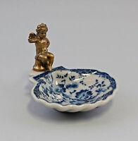 77361 Messing KeramikMuschel-Schale Seifenschale Putto Floraldekor blau