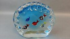 VINTAGE ART GLASS FISH AQUARIUM MURANO PAPERWEIGHT SCULPTURE