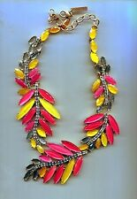 OSCAR DE LA RENTA PINK YELLOW SUBSTANTIAL  necklace retired USA