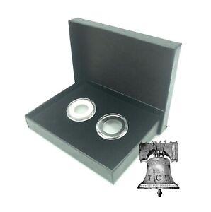 Air-tite Coin Holder Black Box Silver Insert + Model A Storage Capsule Case