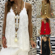 Womens Ladies Plain Sling Spaghetti Vest Tops Casual Loose Lace Tank Camisole UK
