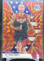2019-20 Panini Mosaic Team USA Orange Reactive Prizm Steph Curry 🔥🔥
