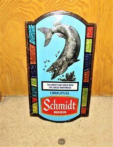 SCHMIDT beer 1973 MUSKIE FISH sign   MINNESOTA
