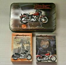 HARLEY DAVIDSON LIMITED EDITION IN TIN PLAYING CARDS 2 DECKS 1999 USED