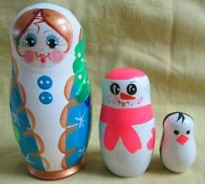 Russian Snowmaiden+Snowman+Pengui n Nesting Doll Set/Hand Made/Free Ship In Us