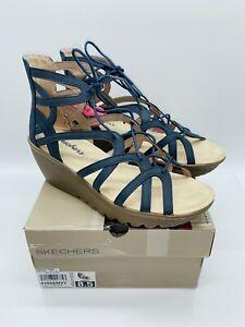 Skechers Women's Parallel Terrace Lace-Up Slingback Wedge Sandals- Navy US 8.5M