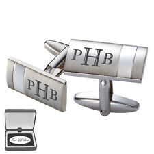 PERSONALIZED SILVER STRIPE STAINLESS STEEL CUFFLINKS CUSTOM ENGRAVED CUFF LINKS
