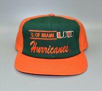 University of Miami Hurricanes Split Bar Script Vintage 90's Snapback Cap Hat