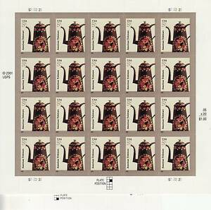 AMERICAN TOLEWARE TEAPOT STAMP SHEET -- USA #3756a 5 CENT