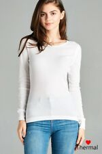 THERMAL CREW NECK Long Sleeve Basic Top Womens T-Shirt Solid Plain Waffle knit