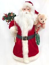 "18"" Classic Santa Claus Christmas Tree Topper Toy Sack Teddy Bear Wreat Figurine"