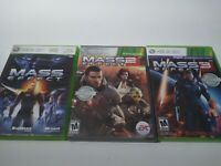 Mass Effect Trilogy 1 2 3 XBOX 360 Game Collection Bundle Set Lot Good Complete