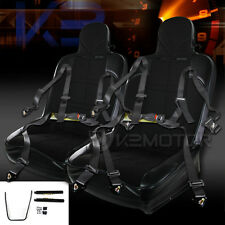 JDM Black PVC Off-Road Bucket Style Sport Racing Seats+4-PT Seat Belts Pair