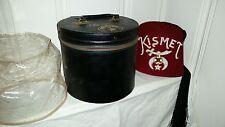 New Vintage Masonic Shriners Freemason Kismet Felt Hat in Leather Carrying Case