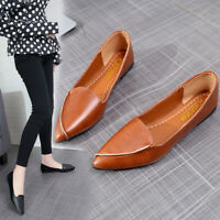 2019 Women Flat Heel Home Shoes PU Casual Solid Pointed Toe Lazy Shallow Mouth