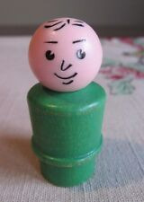 Fisher Price  LITTLE PEOPLE Vntg  HEAT STAMP DAD Green WOOD BODY  Plastic HEAD