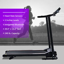 1Hp 6.2mph Portable Treadmill with Incline Heart Monitor Bluetooth & Fitness App